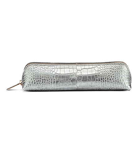 SMYTHSON Mara crocodile-printed calf leather pencil case (Silver