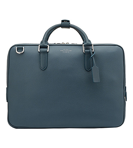 SMYTHSON Burlington slim leather briefcase (Storm+blue