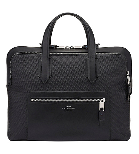 SMYTHSON Greenwich slim cotton and leather carry-on bag (Black
