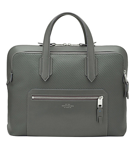 SMYTHSON Greenwich slim cotton and leather carry-on bag (Granite