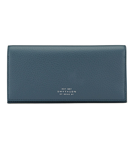 SMYTHSON Burlington slim leather coat wallet with coin pocket (Storm+blue