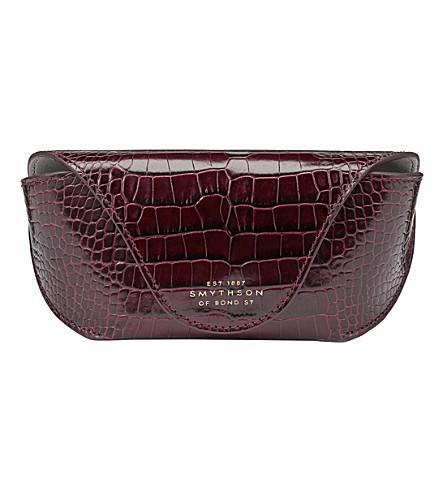 SMYTHSON Mara crocodile-printed calf leather sunglasses case (Winter+berry