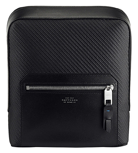 SMYTHSON Greenwich canvas and leather tech case (Black