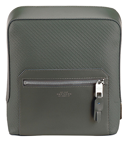 SMYTHSON Greenwich canvas and leather tech case (Granite