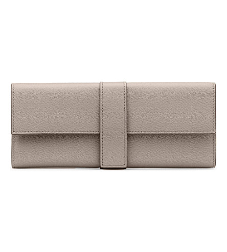 SMYTHSON Grosvenor small leather jewellery roll (Dove+grey