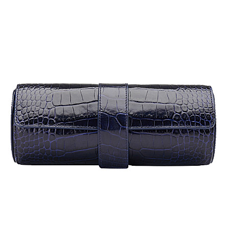 SMYTHSON Mara crocodile-printed calf leather watch roll (Navy