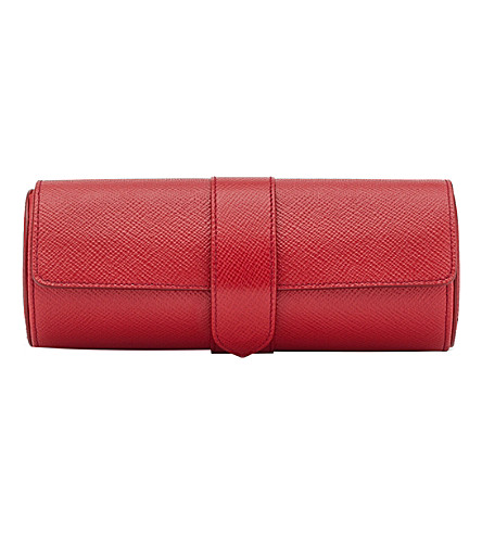 SMYTHSON Panama calf leather watch roll (Red