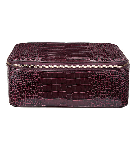 SMYTHSON Mara crocodile-printed calf leather square jewellery pouch (Winter+berry