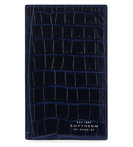 SMYTHSON Mara crocodile-printed calf leather pocket memo (Navy