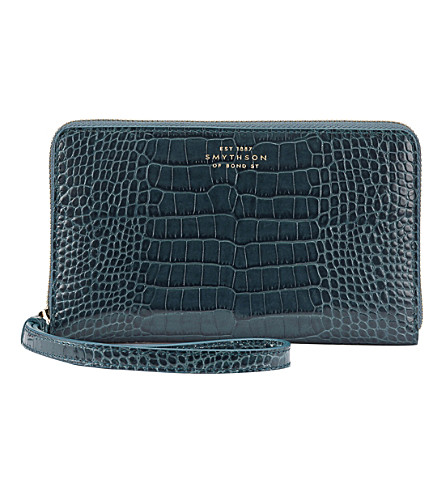 SMYTHSON Mara iPhone leather purse (Storm+blue