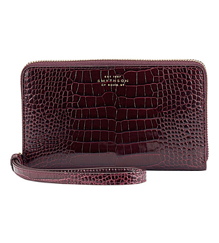 SMYTHSON Mara iPhone leather purse (Winter+berry