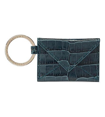 SMYTHSON Mara envelope leather keyring (Storm+blue