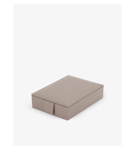 SMYTHSON Grosvenor Travel Tray leather jewellery box (Dove+grey