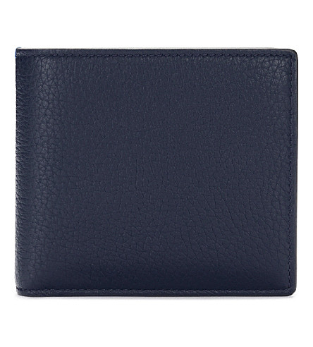 SMYTHSON Burlington leather card and coin wallet (Navy