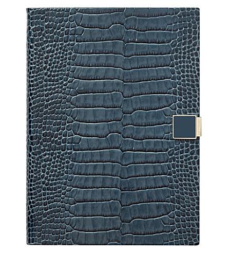 SMYTHSON Soho 2018 leather diary 19cm (Storm+blue