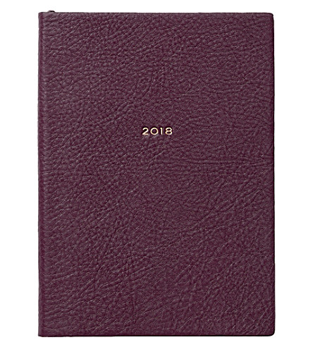 SMYTHSON Soho 2018 leather diary 19cm (Winter+berry