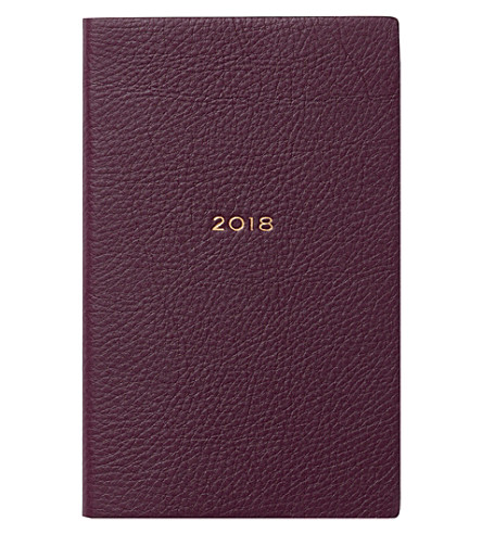 SMYTHSON Panama 2018 leather diary 14cm (Winter+berry