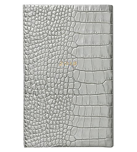 SMYTHSON Panama 2018 leather diary 14cm (Silver