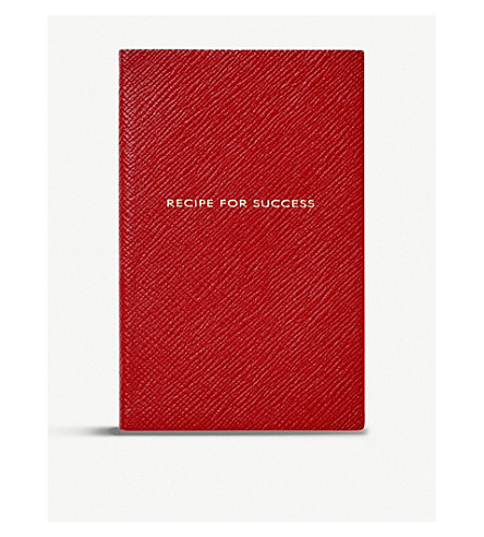 SMYTHSON Panama Recipe for Success leather notebook 14cm (Red