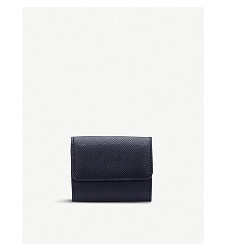 SMYTHSON Panama leather coin purse (Navy