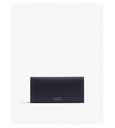 SMYTHSON Panama calf leather slim coat wallet (Navy