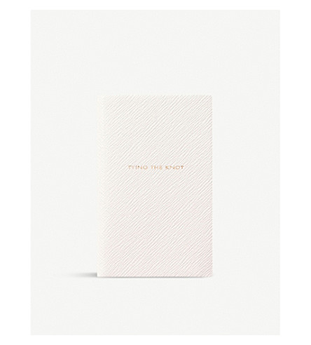 SMYTHSON Tying the Knot leather panama notebook 14cm (White