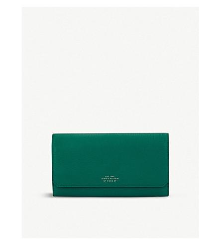 SMYTHSON Berkeley leather housekeeper purse (Palm+green