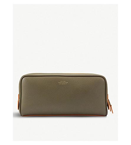 SMYTHSON Burlington large leather wash bag (Olive