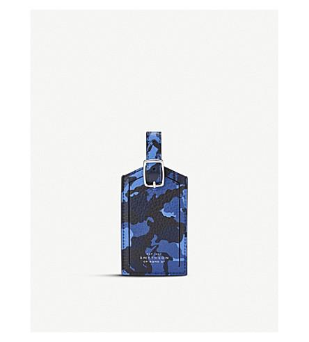 SMYTHSON Burlington leather luggage tag (Blue+camouflage