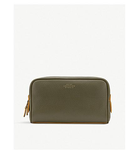 SMYTHSON Burlington leather small washbag (Olive