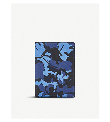 SMYTHSON Burlington leather passport cover (Blue+camouflage