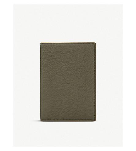 SMYTHSON Burlington leather passport cover (Olive