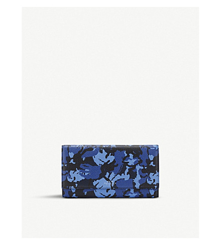 SMYTHSON Burlington leather travel wallet (Blue+camouflage