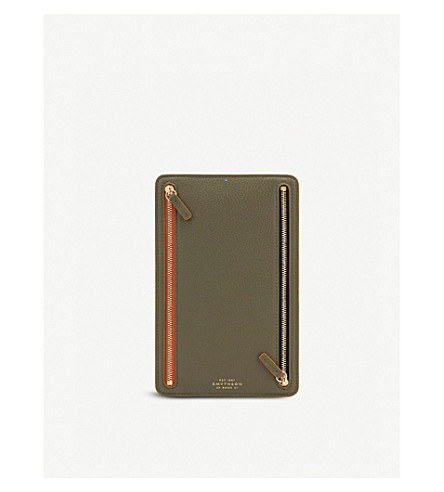 SMYTHSON Burlington leather currency case (Olive