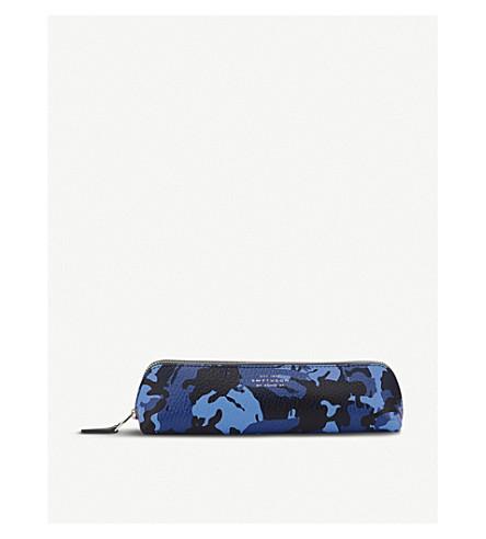 SMYTHSON Burlington leather pencil case (Blue+camouflage