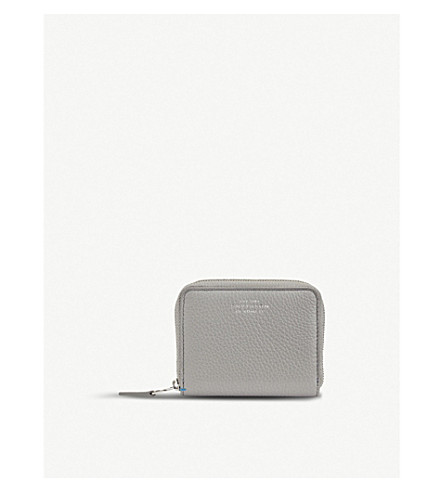 SMYTHSON Burlington leather coin zip purse (Cold+grey