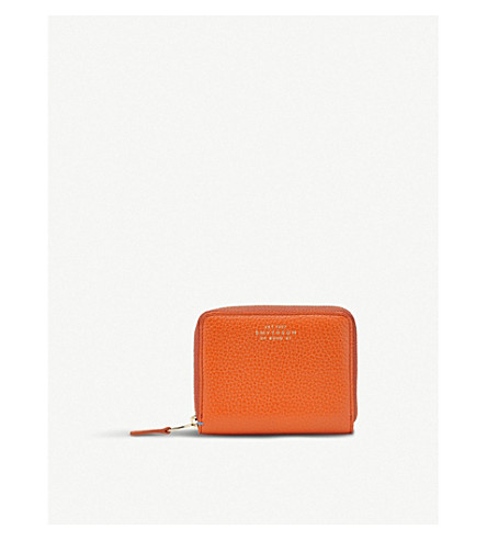 SMYTHSON Burlington leather coin zip purse (Papaya
