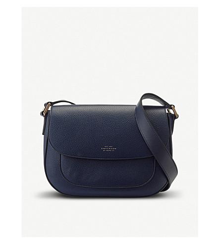 SMYTHSON Burlington leather saddle bag (Navy