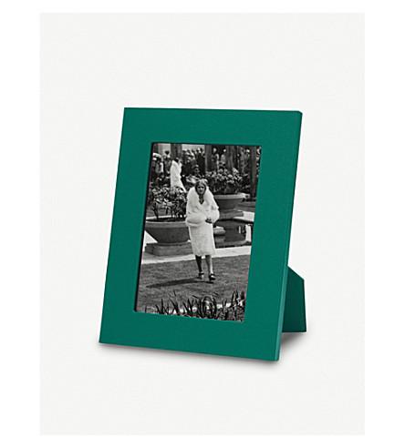 "SMYTHSON Grosvenor leather photo frame 5x7"" (Palm+green"