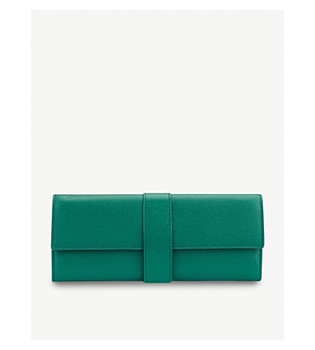SMYTHSON Grosvenor small leather jewellery roll (Palm+green
