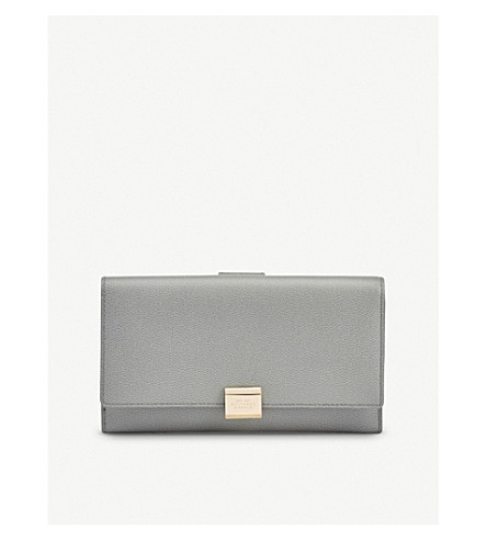 SMYTHSON Grosvenor continental leather purse (Cold+grey