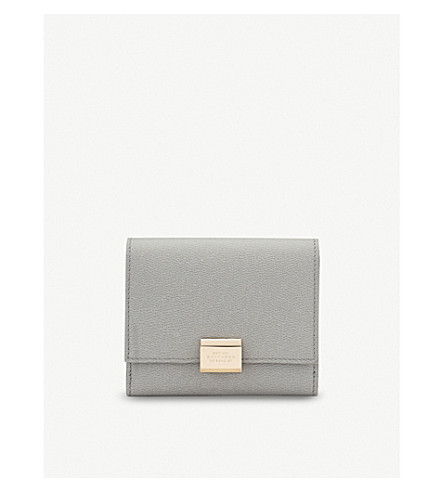 SMYTHSON Grosvenor leather French purse (Cold+grey