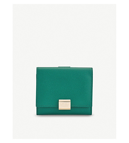 SMYTHSON Grosvenor leather French purse (Palm+green