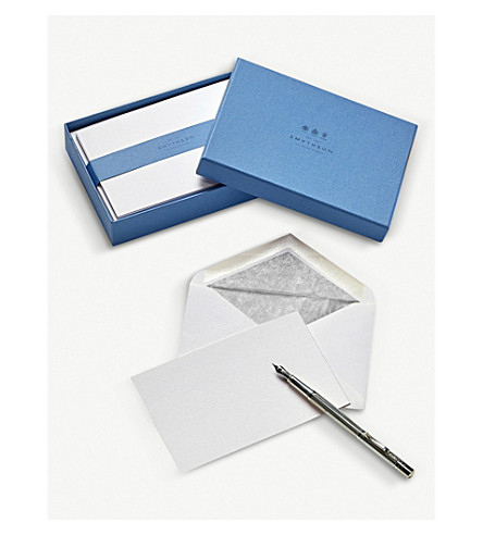 SMYTHSON Bordered correspondence cards pack of 10 (Silver