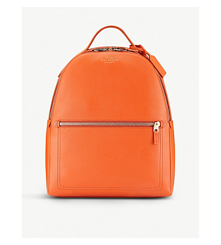 SMYTHSON Burlington small leather backpack (Papaya