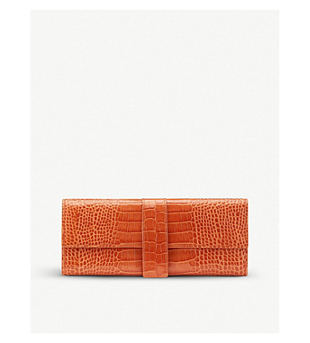 SMYTHSON Mara leather jewellery roll small (Papaya