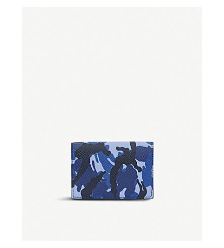 SMYTHSON Panama camouflage leather card case (Blue+camouflage