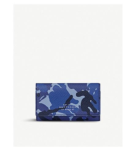 SMYTHSON Panama camouflage leather key holder (Blue+camouflage