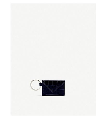 SMYTHSON Mara envelope leather keyring (Navy