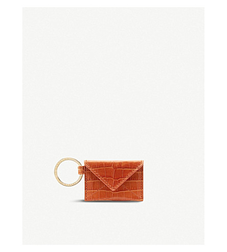 SMYTHSON Mara envelope leather keyring (Papaya